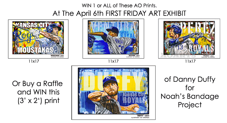 2018 April First Friday Ricos-win-Royals and Danny Duffy prints