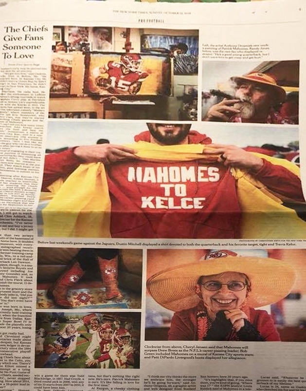 Anthony Oropeza in The New York Times Oct 18, 2018 ''He's Ours. Patrick Mahomes Is Ours.'