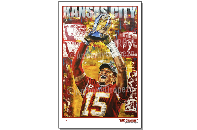 Painting 2020 AFC Champs Patrick Mahomes by Anthony Oropeza