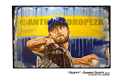 2017 Danny Duffy Painting by Anthony Oropeza for Noah's Bandage Project print